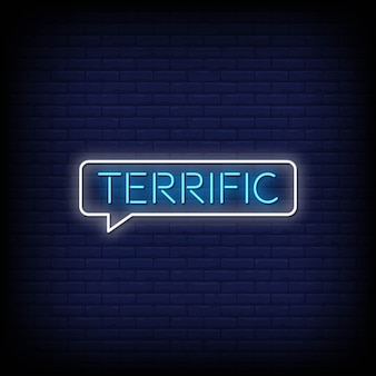 Terrific neon signs style text