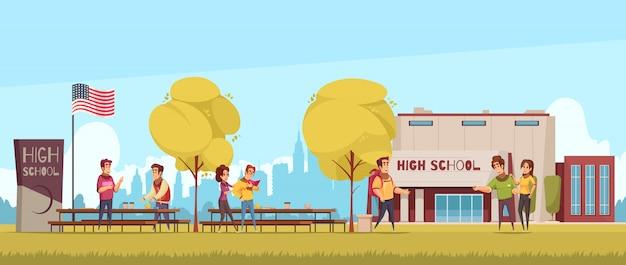 Território do ensino médio com os alunos do edifício educacional durante a comunicação nos desenhos animados de fundo de céu azul