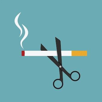 Tesoura corta um cigarro, conceito de anti-tabagismo