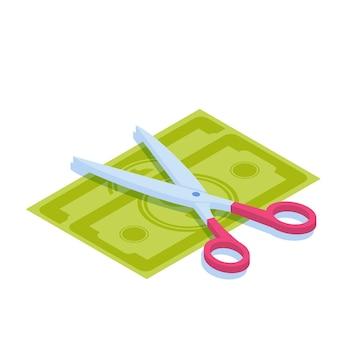 Tesoura cortando dinheiro. divida o dinheiro, compartilhe os lucros ou conceito de venda símbolo de descontos.