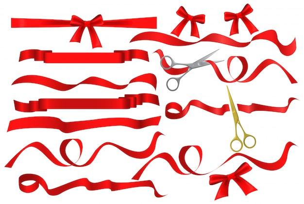 Tesoura corte conjunto de fita de seda vermelha