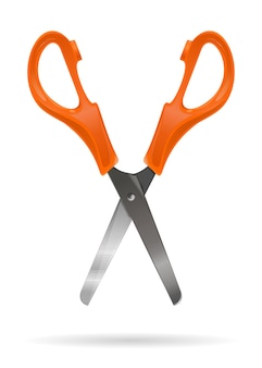 Tesoura de escritório aberto com alças de plástico laranja isoladas em um fundo branco. ilustração vetorial realista