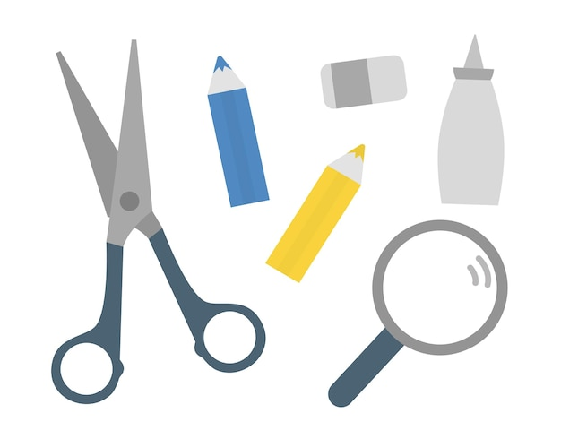 Tesoura lápis lupa ícones de cola vetor artigos de papelaria escola atividades educacionais
