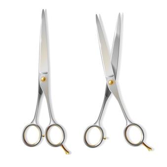Tesouras metálicas 3d realistas com o parafuso de cobre para o cabeleireiro. aço brilhante de lâminas