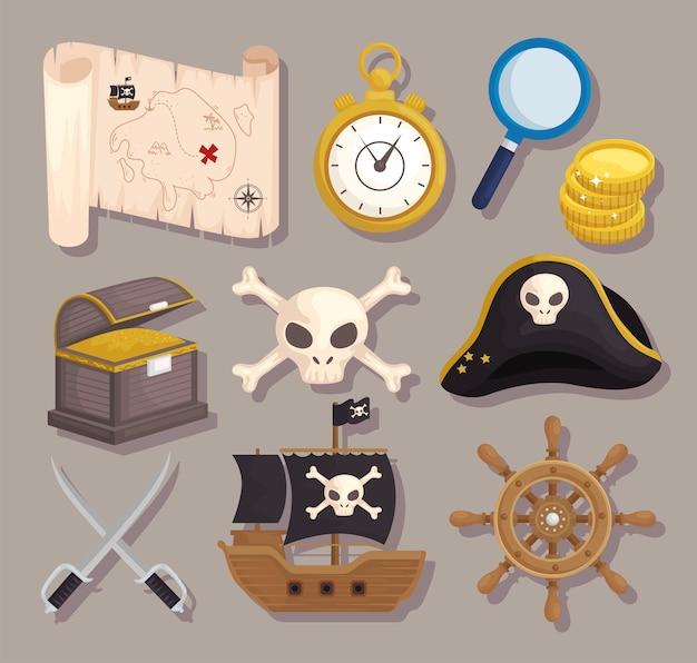 Tesouro de elementos de piratas