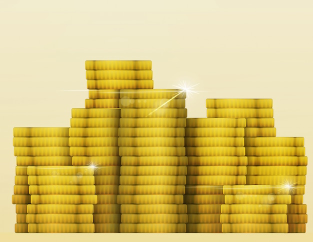 Tesouro de moedas de ouro brilho.