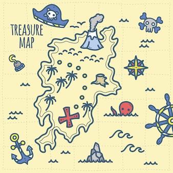 Tesouro de pirata bonito e mapa de aventura para crianças