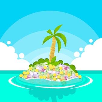 Tesouro tropical ilha dinheiro dólar moedas