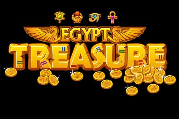 Tesouros de inscrição dourada da cultura egípcia e sinais.