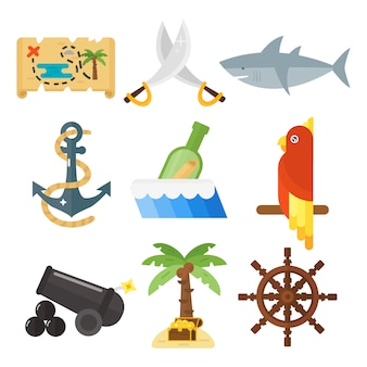 Tesouros pirata aventuras acessórios e animais definido.