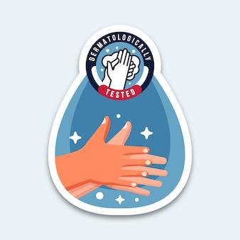 Testado dermatologicamente, lavando as mãos