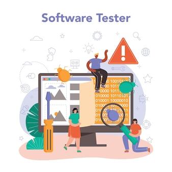 Testador de software. teste de código de aplicativo ou site. desenvolvimento e depuração de software. especialista em ti em busca de bugs. ideia de tecnologia informática. ilustração em vetor plana isolada