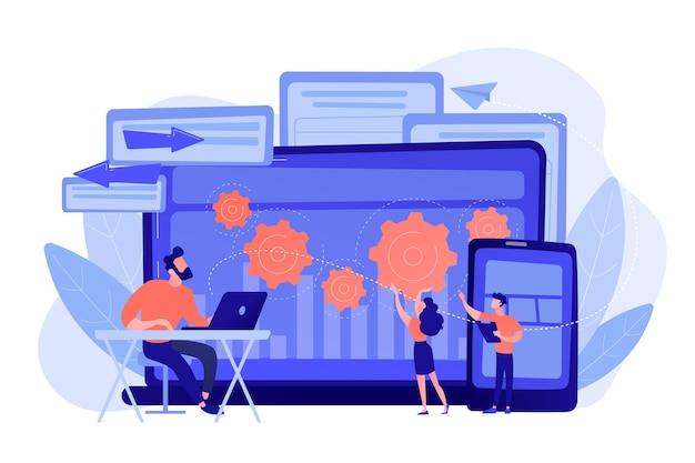 Testador e desenvolvedor trabalham com laptop e tablet. criação de bug de plataforma cruzada, identificação de bug e conceito de equipe de teste ilustração isolada de vetor rosa coral azul