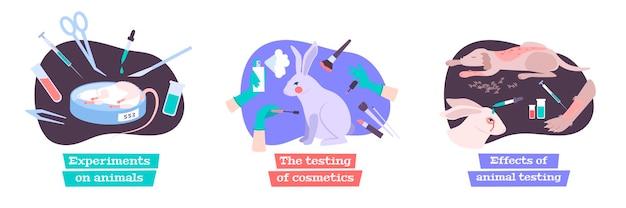 Testando cosméticos em ilustração de conceito de animais