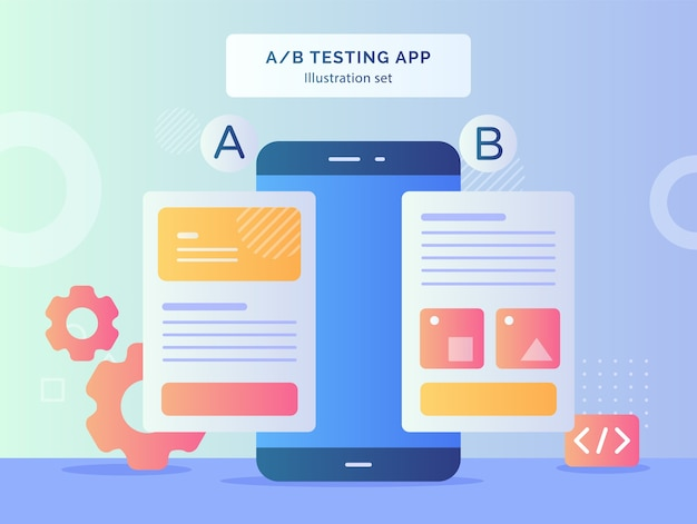 Teste de ab teste conjunto de ilustração de resultado de comparação de wireframe de duas páginas de um site móvel em smartphone com design de estilo simples