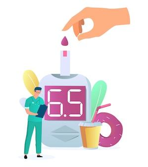 Teste de açúcar no sangue com glicosímetro, medidor de glicose no sangue, dispositivo de controle de insulina, ilustração vetorial diab ...