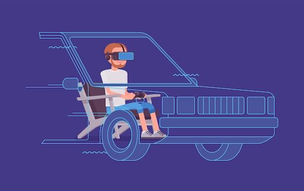 Teste de condução de homem vr