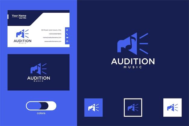 Teste de design de logotipo musical e cartão de visita Vetor Premium