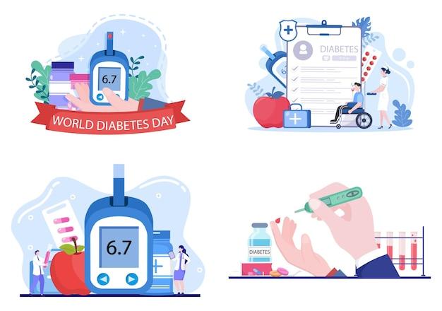 Teste de diabetes com medidor de glicose no sangue, resultados de exames, tubos, seringa para assistência médica e tratamento para ilustração vetorial de fundo de pôster