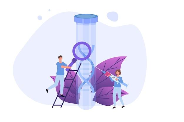 Teste de dna, teste genético, conceito de pesquisa de laboratório. ilustração em vetor plana