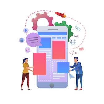 Teste de experiência do usuário de design da web móvel