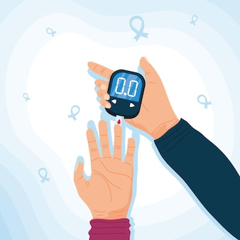 Teste de glicômetro em mãos humanas