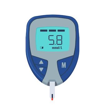 Teste de glicose. dispositivo médico para medir o açúcar no sangue.