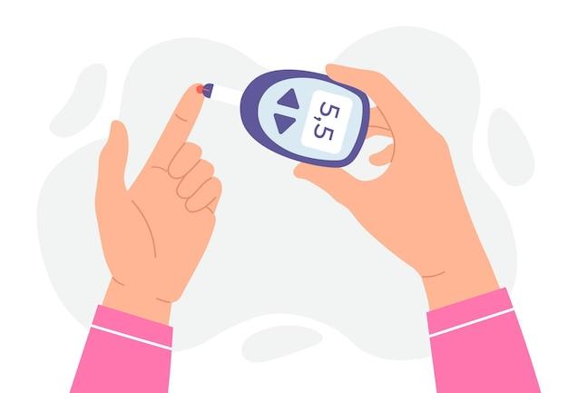 Teste de glicose no sangue. as mãos seguram o glicosímetro e medem o nível de açúcar com o dedo. conceito de vetor de dispositivo de monitoramento e análise de diabetes. nível de ilustração de glicose, controle de teste de açúcar