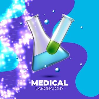 Teste de laboratório com tubo de ensaio realista
