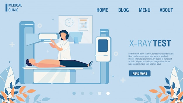 Teste de raio-x plano da oferta da página de destino da clínica médica