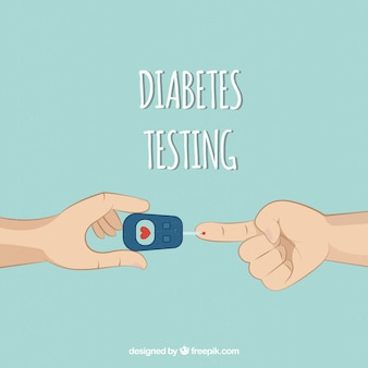 Teste de sangue de diabetes mão desenhada