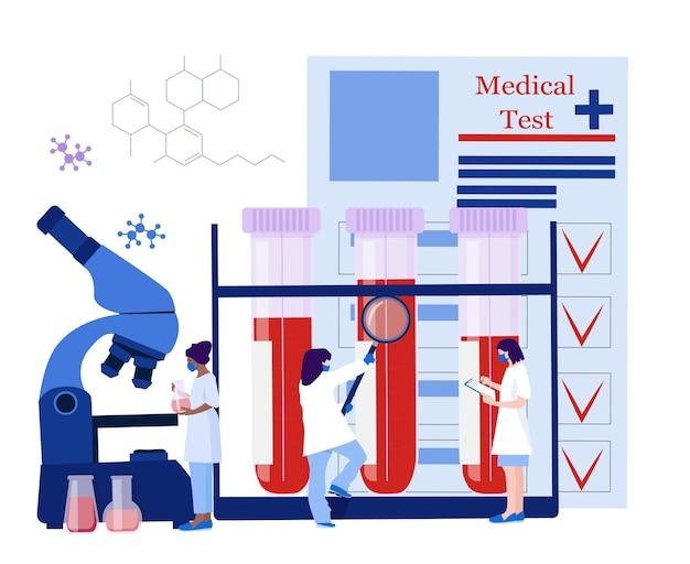 Teste de sangue de laboratório clínico. modelo de teste médico, trabalhadores médicos, equipamentos, detecção de vírus.