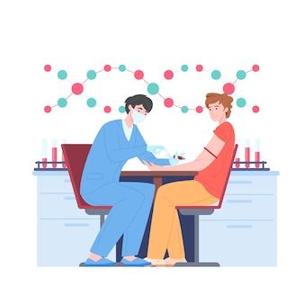 Teste de sangue e ilustração de doação