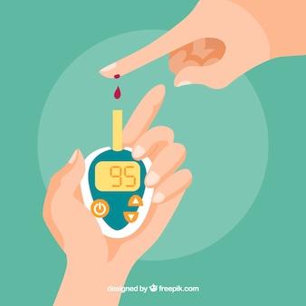 Teste de sangue para diabetes com design plano