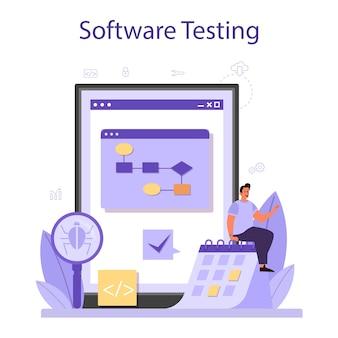 Teste de serviço ou plataforma online de software.