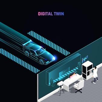 Teste de simulação de carro de corrida com tecnologia dupla digital maximiza o desempenho analisando dados de configuração de estratégia aerodinâmica ilustração isométrica
