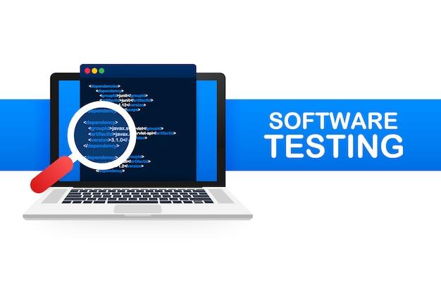Teste de software. processo de fluxo de trabalho de desenvolvimento de software, análise de teste de codificação. ilustração.