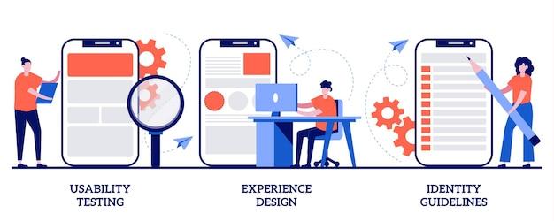 Teste de usabilidade, design de experiência, conceito de diretrizes de identidade. conjunto de prototipagem de aplicativos.