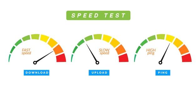 Teste de velocidade, medida de internet, ícone do velocímetro, upload rápido, download, avaliação