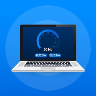 Teste de velocidade no laptop. velocímetro internet velocidade 50 mb. tempo de carregamento da velocidade do site. .