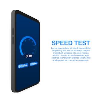 Teste de velocidade no smartphone. velocímetro internet velocidade 50 mb. tempo de carregamento da velocidade do site. .