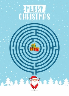 Teste do labirinto do círculo do merry christmas maze games
