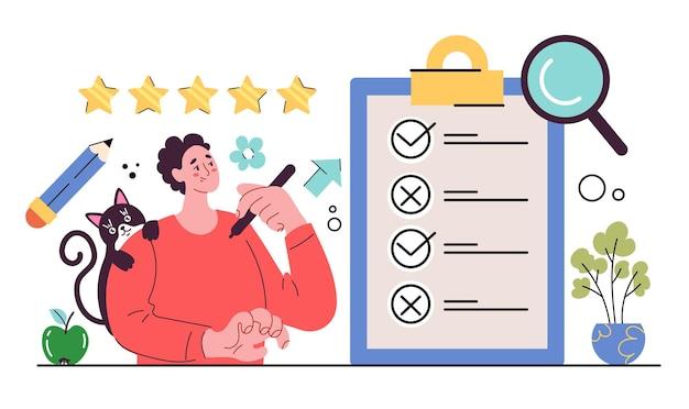 Teste do relatório de feedback da pesquisa para fazer a lista de verificação, a lista de verificação, o questionário, papel