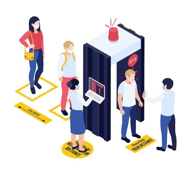 Teste médico durante o conceito isométrico de epidemia com verificação da temperatura corporal antes de entrar na ilustração de lugar público