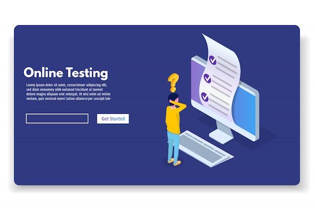 Teste on-line, e-learning, conceito isométrico de educação. ilustração vetorial