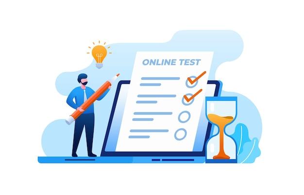 Teste online com ilustração vetorial plana de laptop para banner e página de destino