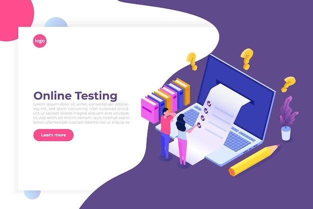 Teste online, e-learning, conceito isométrico de educação.