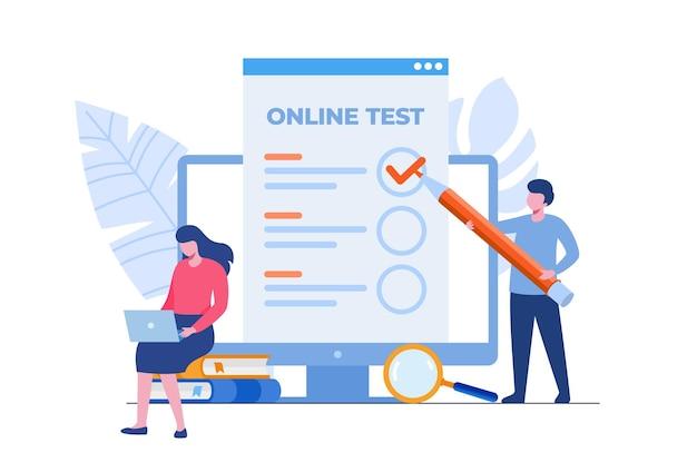 Teste online e verificando o conceito de respostas. ilustração vetorial plana