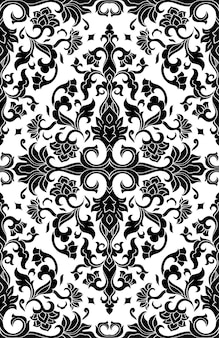 Teste padrão abstrato com damasco. template preto e branco