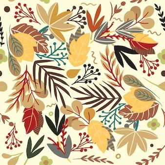 Teste padrão abstrato com folhas e flores